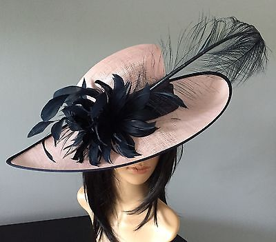 Nigel Rayment Baby Pink Navy Wedding Hat  Occasion Formal Mother Of The Bride