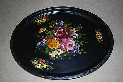 VINTAGE 1940s HAND PAINTED HUGE TABLE SIZE OVAL SHAPE TOLE TRAY GORGEOUS ROSES