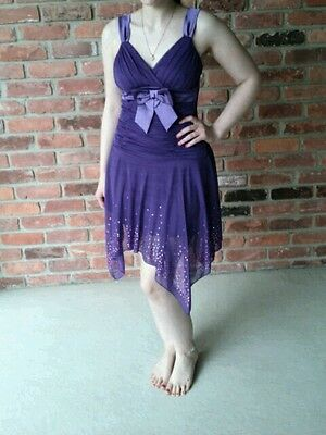 Dress~Small/S~Dance/Party/Wedding/Formal~Purple~Deb~Sequins~Bow~Teen/Teenager