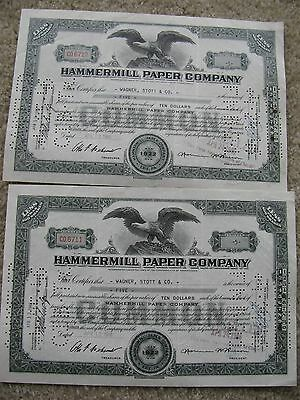 Hammermill Paper Company Stock Certificates - Commmon 1946