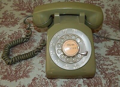 Vintage Western Electric Bell System Green Rotary Dial Telephone Desk Phone 500