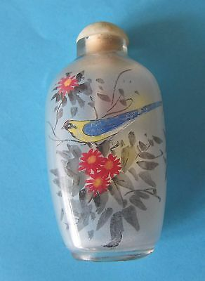 Old Vintage Chinese Snuff Bottle Glass - Internally Painted With Colourful Birds