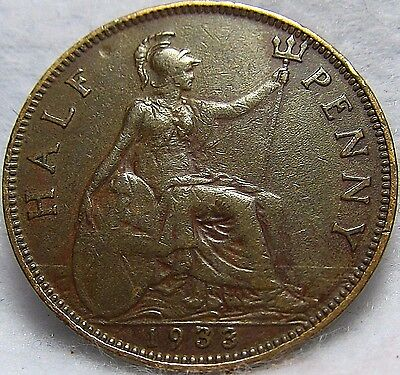 1933 GREAT BRITAIN 1/2 PENNY ~ Excellent Condition ~ KM# 837