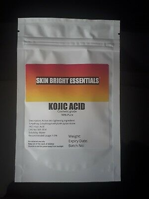 KOJIC ACID POWDER 100g, SKIN LIGHTENING/BLEACHING ADD TO CREAM/LOTION, SOAP UK