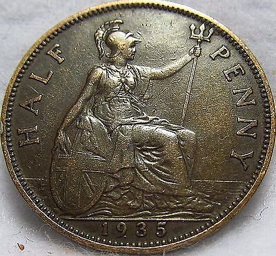 1935 GREAT BRITAIN 1/2 PENNY ~ Excellent Condition ~ KM# 837