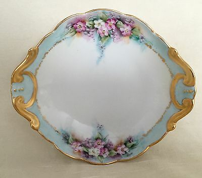 Antique Noritake Nippon Scalloped Bowl Hand Painted Flowers Mother of Pearl