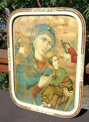antique old Russian icon Virgin Mary and Jesus Christ framed from estate
