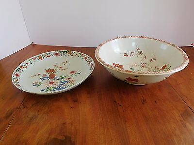 Chinese bowl and platter famille rose palette Kanxi high quality decoration