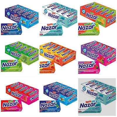 NAZAR SUGAR FREE TURKISH CHEWING GUM 100 PCS SUGARLESS FREE POST (5x20)