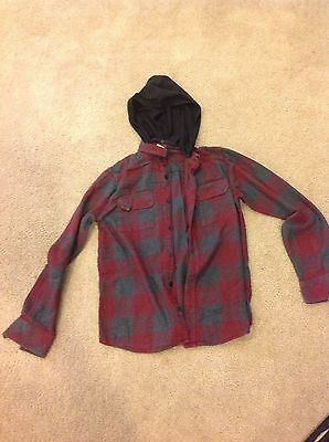Tony Hawk Boys Red,Gray and Black Long Sleeve Flannel HOODIE Shirt Size XL GUC