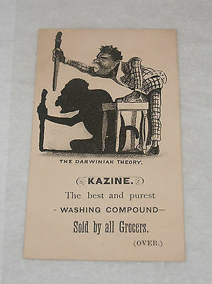 Antique Victorian Advertising Trade Card Kazine Washing Compound Black Americana