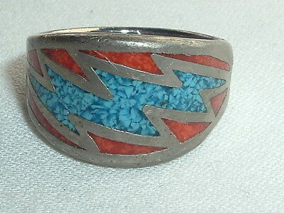 Vintage Turquoise & Coral Chip Inlay Coin Silver Ring Size 7.5