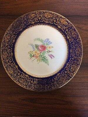 Imperial By Salem China Company Service Plate 23 Karat Gold Made In USA