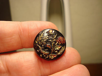 Antique black glass CARNIVAL lustre BUTTERFLY, LIZARD and flowers button