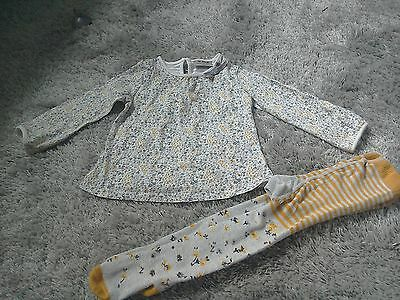 Girls Next grey & ochre ditsy flower top & tights set 12-18 months