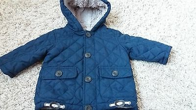 Baby boy navy hooded coat 3-6 months