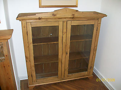 Antique pine glazed bookcase display unit cupboard
