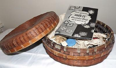 Early Round Wicker Sewing Notions Storage Basket w/ Lid and Supplies vtg