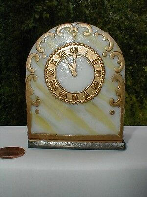 1909 Westmoreland Glass Candy Container - TOMBSTONE OPALWARE CLOCK MARBLEIZED