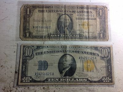 1934 $10 and $1 North Africa War Notes, Silver Certificates #4