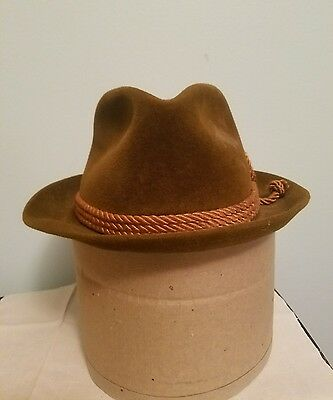 Vintage Men's Churchill Brown Leather Fedora Hat Size  7 1/4 Rope Band Tuff
