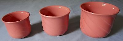 3 Vintage Nested Pottery Rose Colored Planters  W Germany 814-8