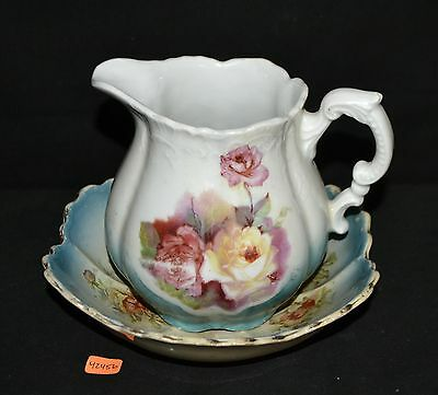 ThriftCHI ~ Made In Germany Ceramic Pitcher & Antique Bowl w Floral Design