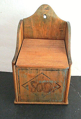 Vintage, Wooden Salt Box with Lid, For Wall Hanging