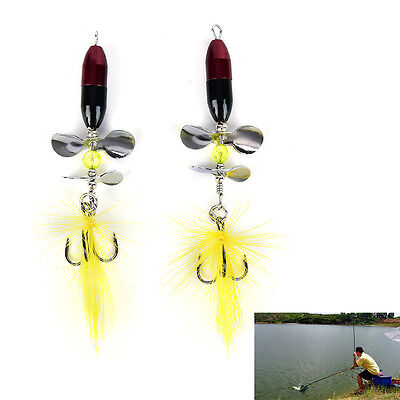 2PCS Long Casting Spinner Bait Metal Fishing Lure w/ Double Tail Propeller JR