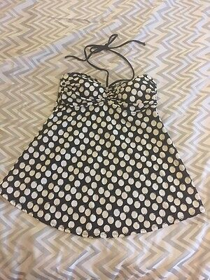 Liz Lange Maternity Tankini Top Size Small Black White Polka Dot