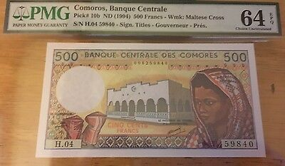 1994 PMG 64 500 Francs Comoros Cameroun Pick 10b In USA