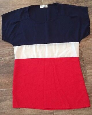Red, White, and Blue Blouse Top Women's X- Small