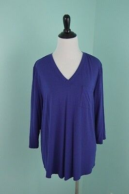 Orvis V Neck Shirt Women's Size Large Blue 3/4 Sleeve Rayon Blend Top