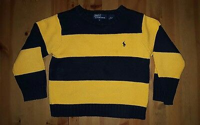 Polo by Ralph Lauren Boys' Black and Yellow Striped Sweater Size 5T EUC!!!