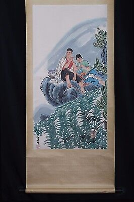 Rare Vintage Handmade China Paper Figures Scroll Painting Mark PP489