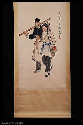 Long Old China Scroll Hand Painting Man And Woman Marked WeiZiXi PP469