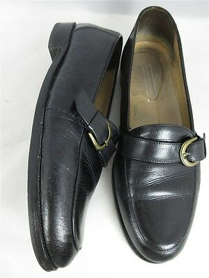 Johnston & Murphy Men's sz 9M Black Buckle Leather Loafer Shoes