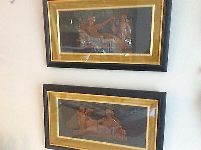 Antique Pair Of Framed Victorian German Wax Carvings Under Glass