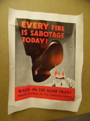 c.1942 EVERY FIRE IS SABOTAGE TODAY WWII Home Front Fire Prevention Brochure