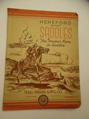 1940 Hereford Brand Saddle Catalog Texas Tanning Mfg Co. Saddlery Yoakum Vintage