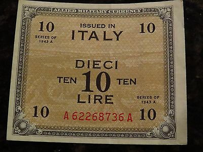 1943-A WWII Italy 10-Lire Military Currency + BONUS 1951 5-Lire Dolphin Coin!