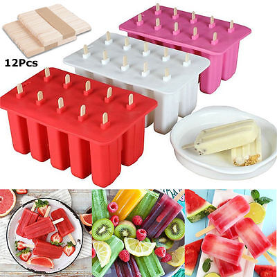 10 Cell Frozen Ice Cream Lolly Juice Maker Pop Mold Mould Popsicle Yogurt Icebox