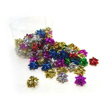 100 x Itsy Bitsy - 2.5cm Metallic Mix Star Gift Bows - Gift Wrapping Party