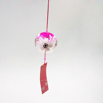 Japanese Glass Furin Wind Chime Home Garden Patio Decorative Crafts Cherry