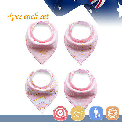 4pcs Baby Bibs Pure Cotton Bandana Feeding Kid Toddler Unisex Saliva Towel Pink