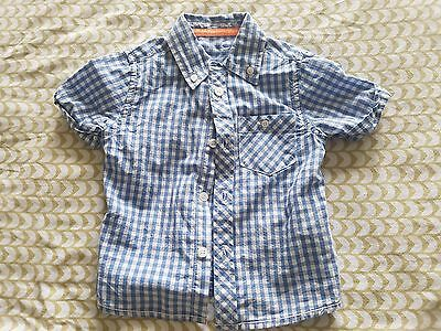 Mothercare boys white and blue check shirt size 12-18 months