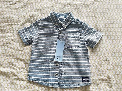 Tesco F&F boys blue and white striped shirt size 12-18 months