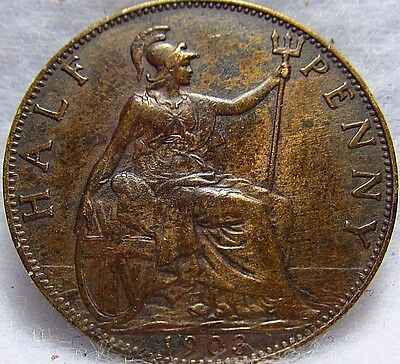 1903 GREAT BRITAIN 1/2 PENNY ~ VF Condition ~ KM# 793.2
