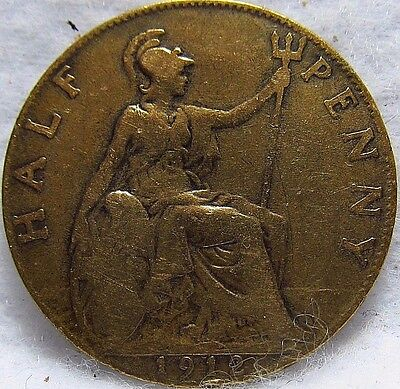 1912 GREAT BRITAIN 1/2 PENNY ~ F Condition ~ KM# 809