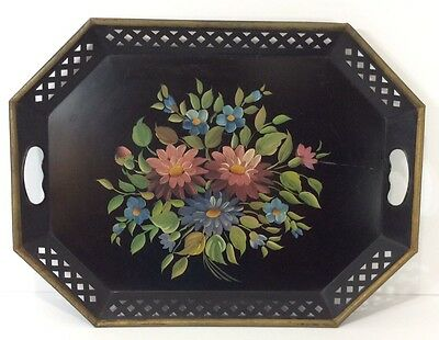 Large Vintage Mid Century Hand Painted Metal Tole Toleware Serving Tray Floral